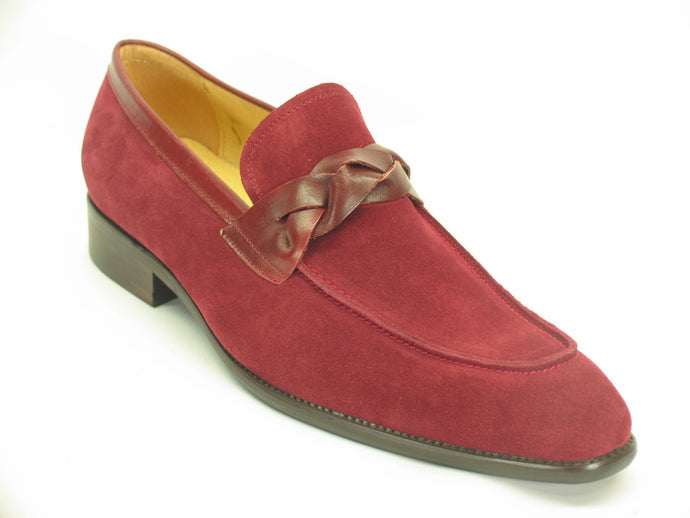 KS503-21SL Suede Loafer W/Leather Trim-Burgundy