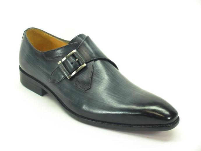 KS503-39 Monk Strap Buckle Leather Loafer-Grey