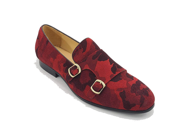 KS525-17S Printed Suede Double Monk Straps