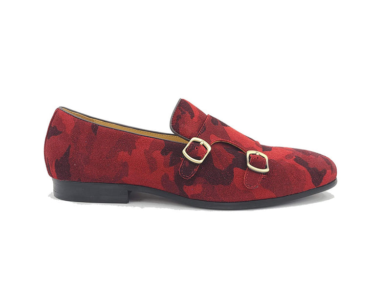 Printed Suede Double Monk Straps