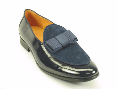KS525-210SP Carrucci Formal Dress Shoes With Bow-Navy/Black