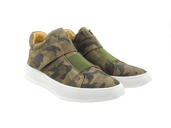 Camouflage Printed Suede Sneakers