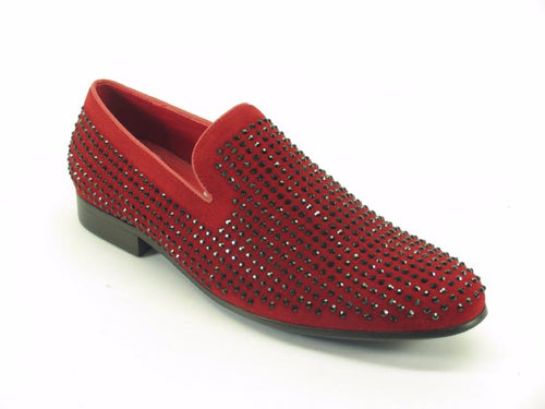 KS805-05SG Suede Studs Dress Shoes-Red