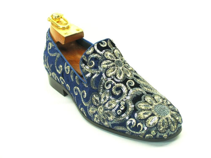 KS805-07SV Carrucci Hand Embroidered Bling Dress Shoes-Sapphire