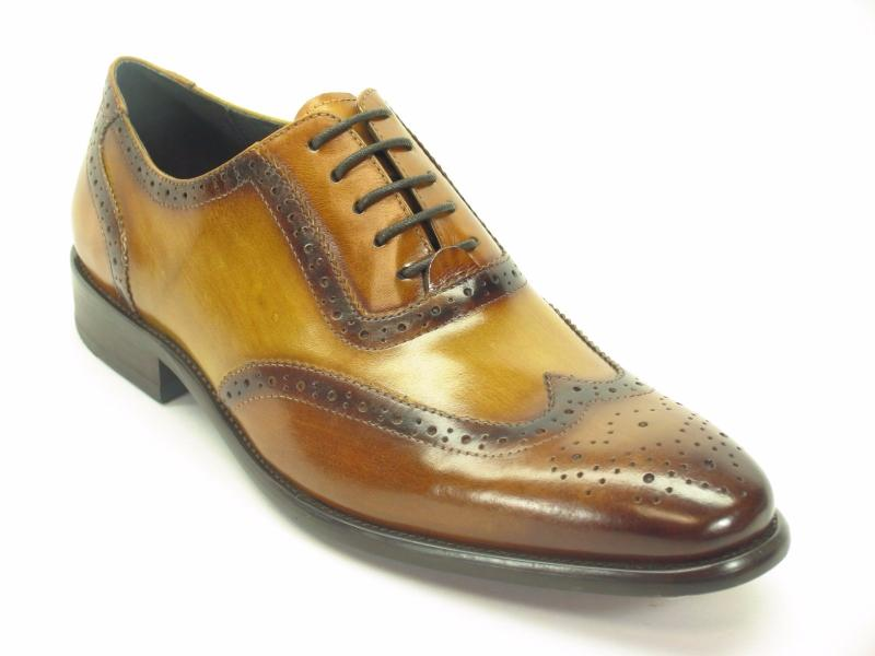 Hand Paint Wingtip Medallion Oxford Brown/Navy