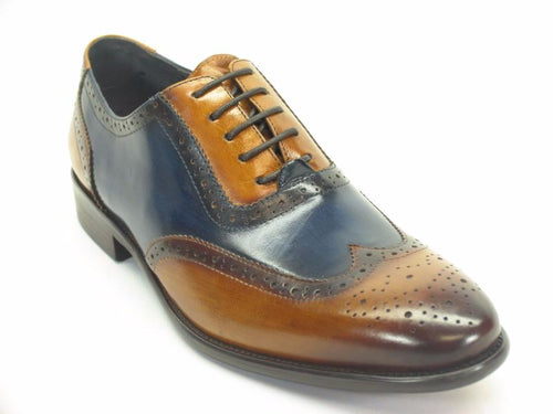 KS886-11T Hand Paint Wingtip Medallion Oxford Brown/Navy