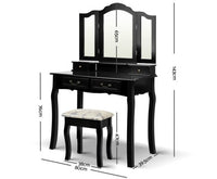 DRESSING TABLE WITH STOOL Black