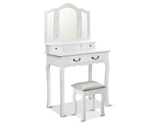 DRESSING TABLE WITH STOOL white