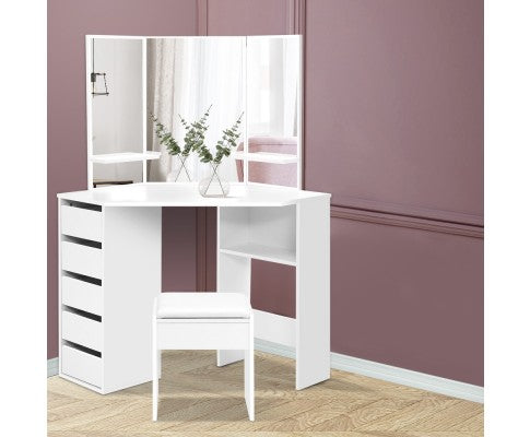 CORNER DRESSING TABLES WITH STOOL