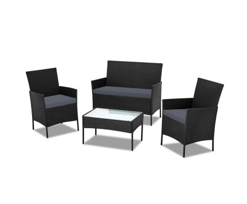 RATTAN 4 PIECE OUTDOOR SETTING