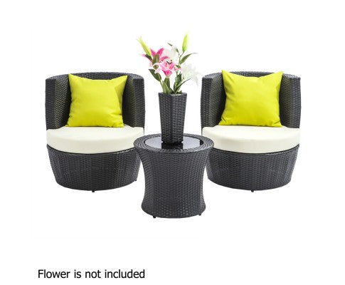 OUTDOOR PE WICKER 4 PCE SET