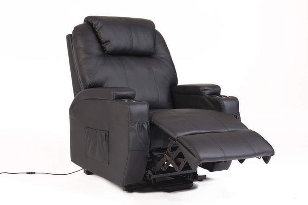 RECLINER LIFT MASSAGE CHAIRS (Black Bonded Leather)