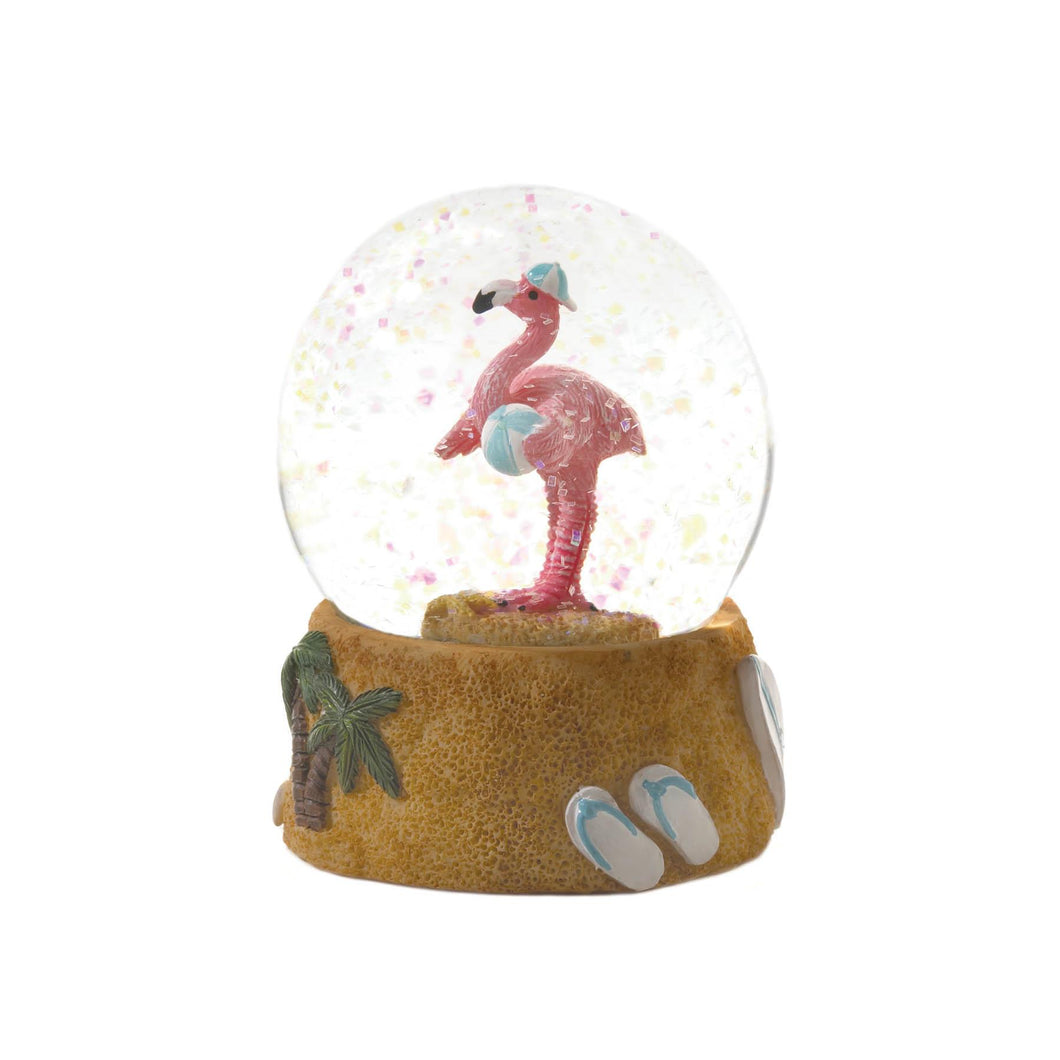 BEACH BALL FLAMINGO SNOW GLOBE