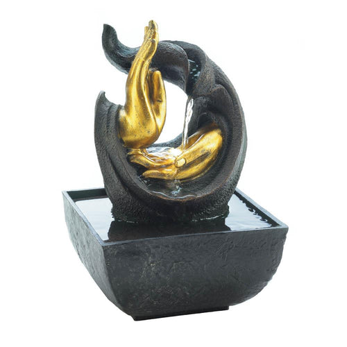 GOLDEN HANDS ACCENT TABLETOP FOUNTAIN