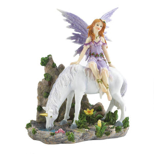 LAVENDER FAIRY AND UNICORN FIGURINE