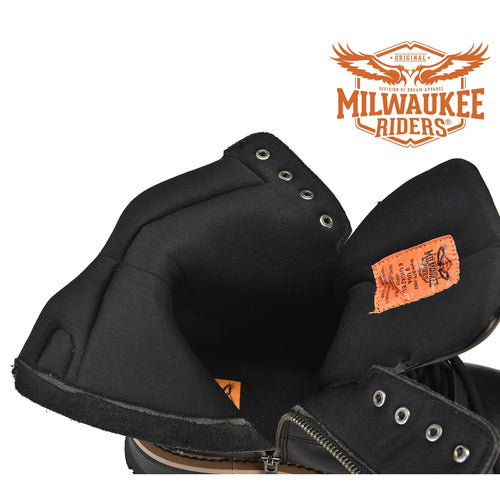 Men's Leather Motorcycle Boots Zipper And Lace-Up By Milwaukee Riders®