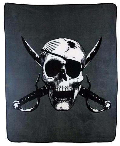 PIRATE SKULL W EYE PATCH & CROSSED SWORDS LARGE 50X60 IN PLUSH THROW BLANKET