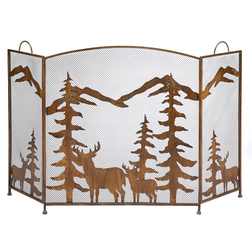 RUSTIC FOREST FIREPLACE SCREEN