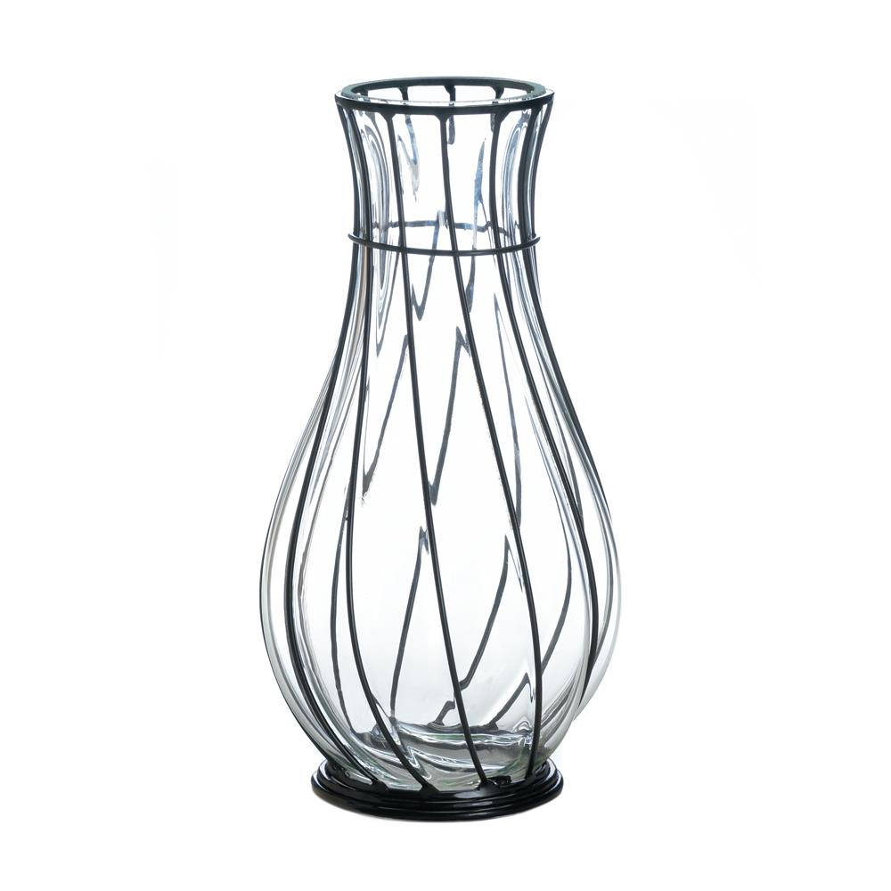 SHORT GLASS AND METAL VASE