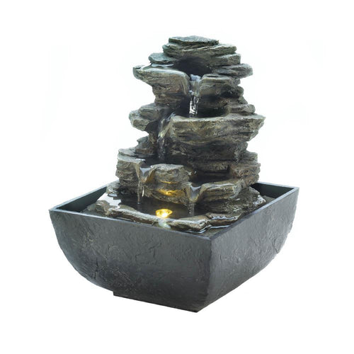 10018474 TIERED ROCK FORMATION TABLETOP FOUNTAIN