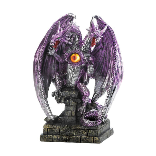 TWO-HEADED PURPLE DRAGON STATUE