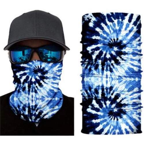 BLUE TIE DYE SEAMLESS BANDANA FACE COVER TUBE MULTI FUNCTION MASK WRAPS