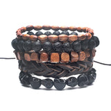 black out bamboo wood leather bracelet
