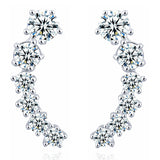 silver color stars element crystal earrings - very-popular-jewelry.com