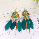 vintage long feather drop earrings - very-popular-jewelry.com
