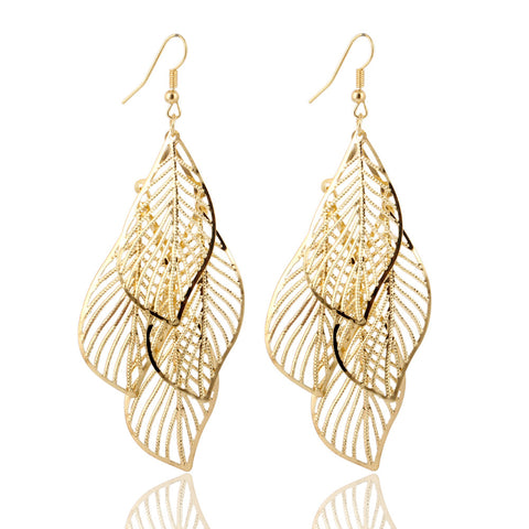 hollow flower gold color leaf drop earrings