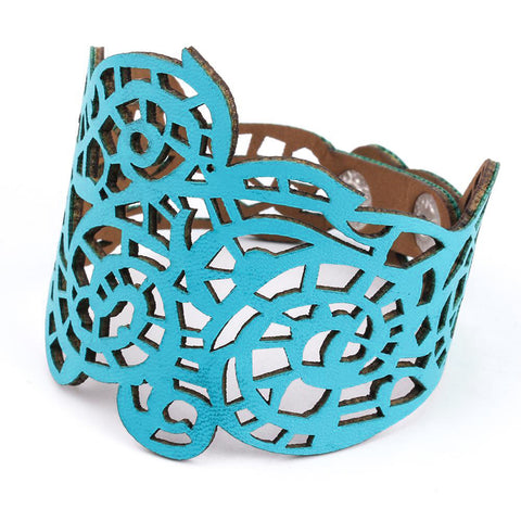 hollow design charm faux leather bracelet - very-popular-jewelry.com