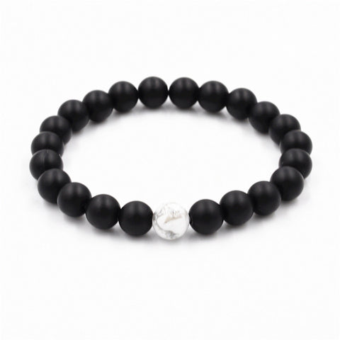 2 pcs white and black natural stones couple bracelet