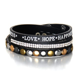 rhinestone crystal rivet leather warp bracelet - very-popular-jewelry.com