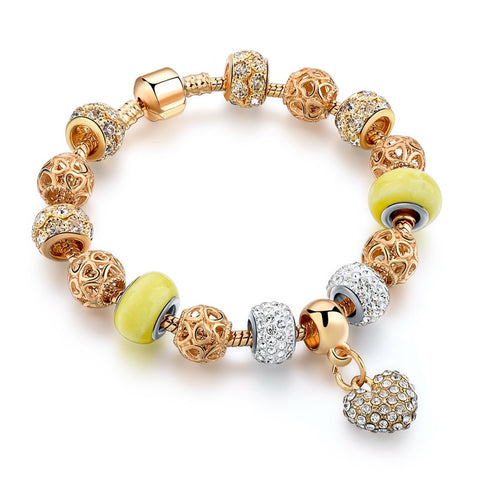 gold chain bead bracelet & bangle for women - very-popular-jewelry.com