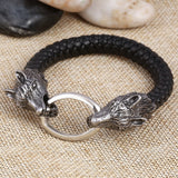 stainless steel wolf head charm leather bracelet