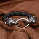 stainless steel wolf head charm leather bracelet - very-popular-jewelry.com