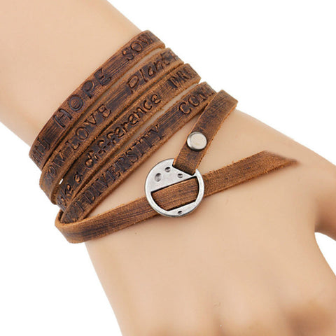 multilayer brown genuine leather wrap bracelet for men