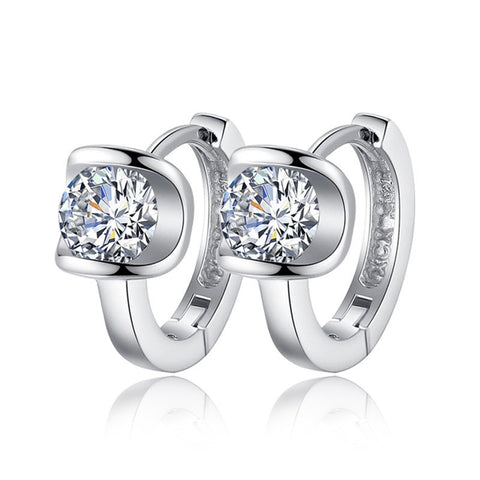 silver plated angel kiss crystal stud earrings - very-popular-jewelry.com