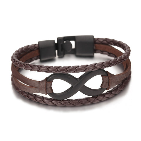 genuine leather infinity bracelet - very-popular-jewelry.com