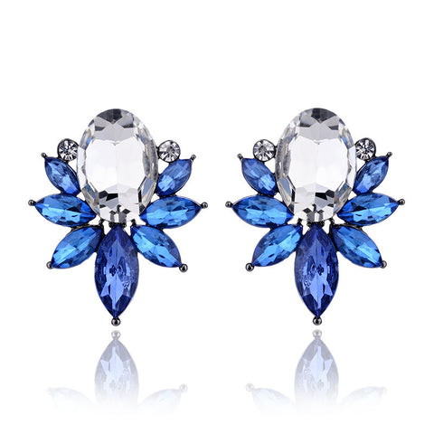 crystal opal stone stud earrings