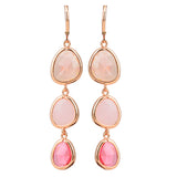 colorful crystal resin stone long drop pink earrings
