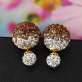 rhinestone double ball sided crystal stud earrings - very-popular-jewelry.com