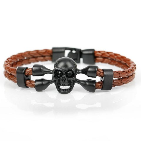 skull charm leather bracelet for men - very-popular-jewelry.com