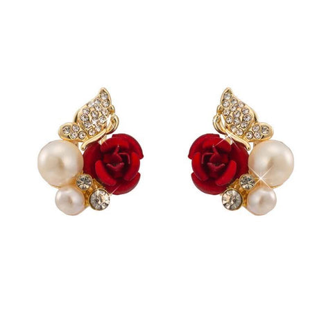 red rose pearl gold color stud earrings - very-popular-jewelry.com