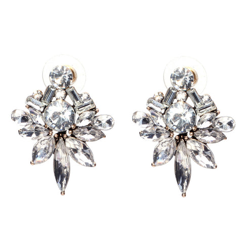 elegant shiny crystal stud earrings for women