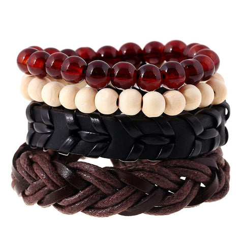 4pcs set punk weave wrap strand anchor genuine leather bracelet - very-popular-jewelry.com