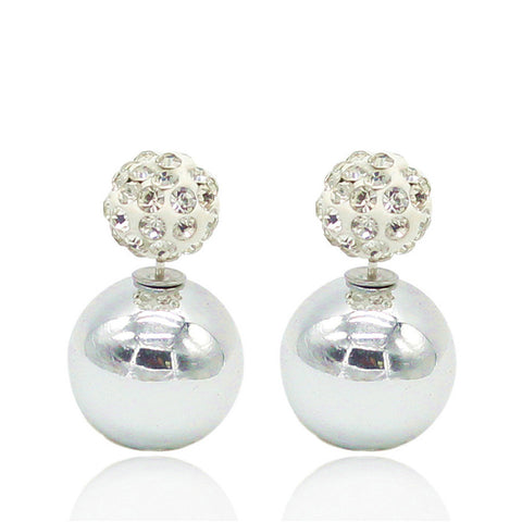 two ball pearls & crystal stud earrings