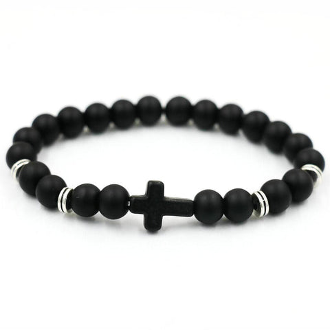 natural stone cross bracelet - very-popular-jewelry.com