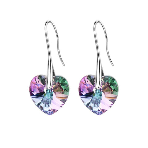 swarovski elements crystal heart pendant earrings