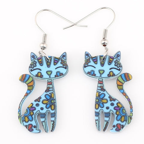 cat drop dangle long earrings